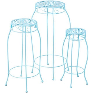Martini Sky Blue Wrought Iron Round Plant Stands (Set of 3)