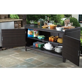 Dark Roast Finish Wicker Aluminum Frame All-weather Shelf and Glass Top Sideboard