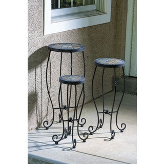 Sagrada Powder-coated Round Ceramic Plant Stands (Pack of 3)