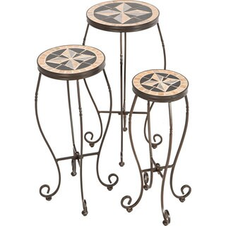 Formia Beige Powder-coated Ceramic Round Plant Stands (Pack of 3)
