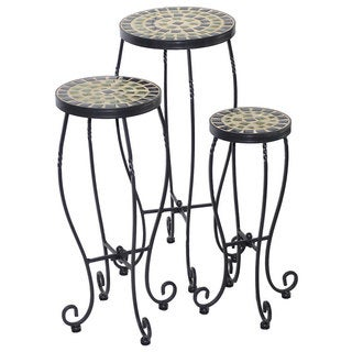 Shannon Powder-coated Ceramic Round Plant Stands (Pack of 3)