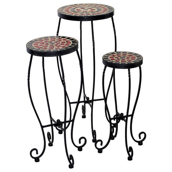 Stellarton Multicolored Powder Coated Wrought Iron And Ceramic Tile Round Plant Stands Pack Of