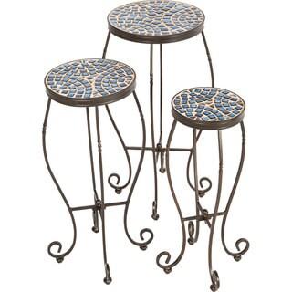 Tremiti Ceramic Mosaic Round Plant Stands (Set of 3)