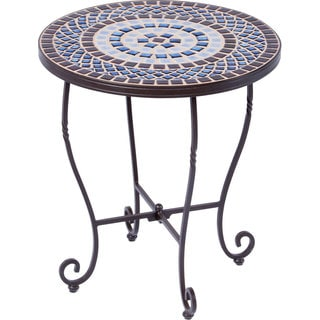 Tremiti Wrought-iron 20-inch Round Ceramic Mosaic Outdoor Tile Top and Base Side Table