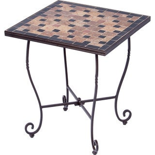 Recco Ceramic Mosaic 20-inch Square Outdoor Side Table with Tile Top and Base