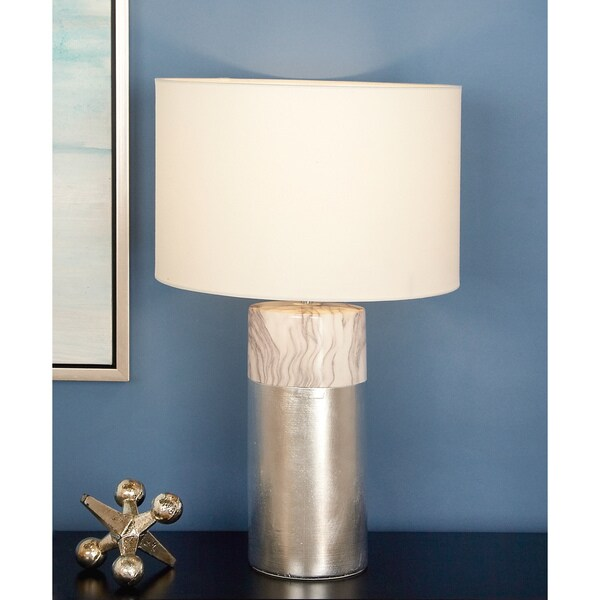 Urban Designs Nash Silvertone Ceramic 24-inch Table Lamp