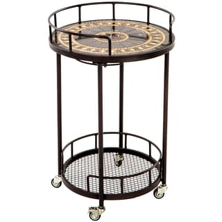 Gibraltar Beige Marble 20-inch Round Mosaic Outdoor Serving Cart with Wine Holders
