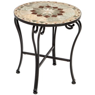 Notre Dame Marble Mosaic 20-inch Round Side Table