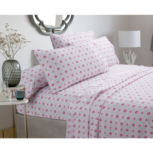 Silver Orchid Flynn Pastel Sheets Set   Pink Floral, Deep Pockets