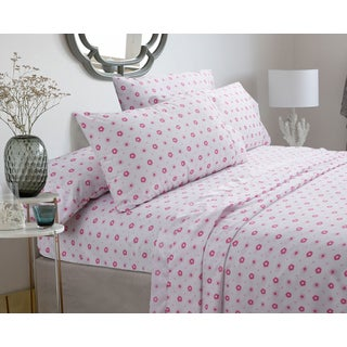 Silver Orchid Flynn Pastel Sheets Set - Pink floral, Deep Pockets (3 options available)