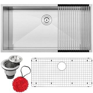 "36"" Ticor S3700 Pacific Series 16-Gauge Stainless Steel Undermount Single Basin Zero Radius Kitchen Sink with Accessories"