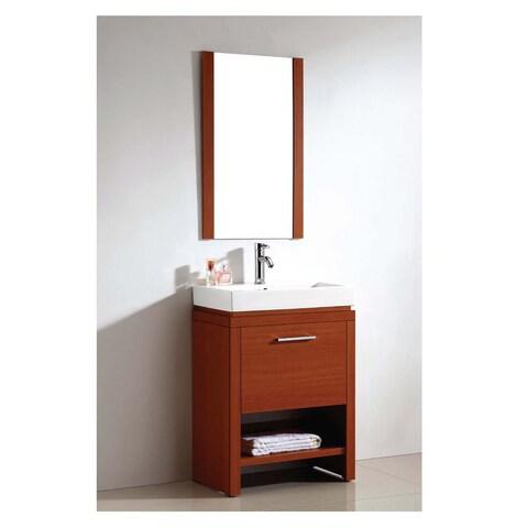 Dawn Cherry Ceramic Sink, Mirror, and Bathroom Vanity Set