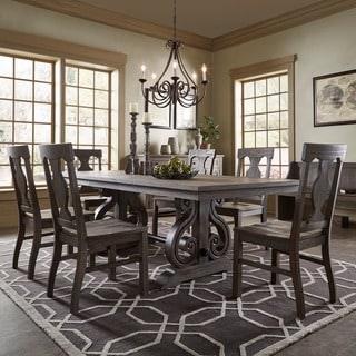 Rowyn Wood Extending Dining Table Set By INSPIRE Q Artisan  Farmhouse Dining Room Table