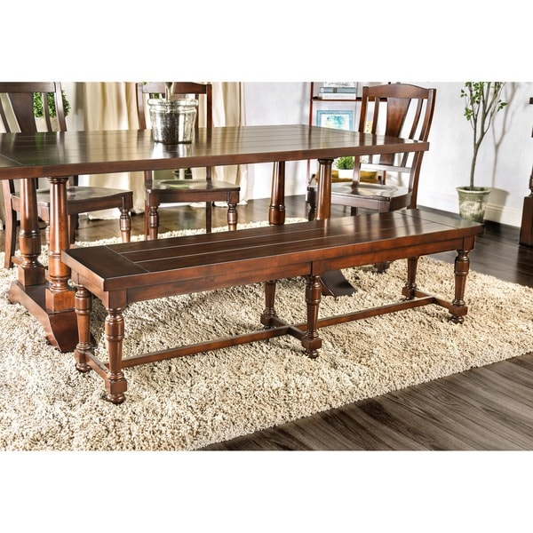 Exceptional Furniture Of America Lumin Rustic Country Style Plank Top Brown Cherry  Dining Bench