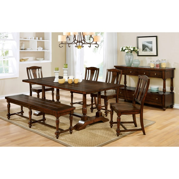 Furniture Of America Lumin Rustic Country Style Plank Top Brown Cherry  Dining Bench   Free Shipping Today   Overstock.com   20969550