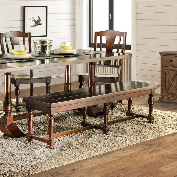 Furniture Of America Lumin Rustic Country Style Plank Top Brown Cherry  Dining Bench