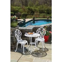 Tulipano White Cast Aluminum Bistro Dining Set (Set of 3)