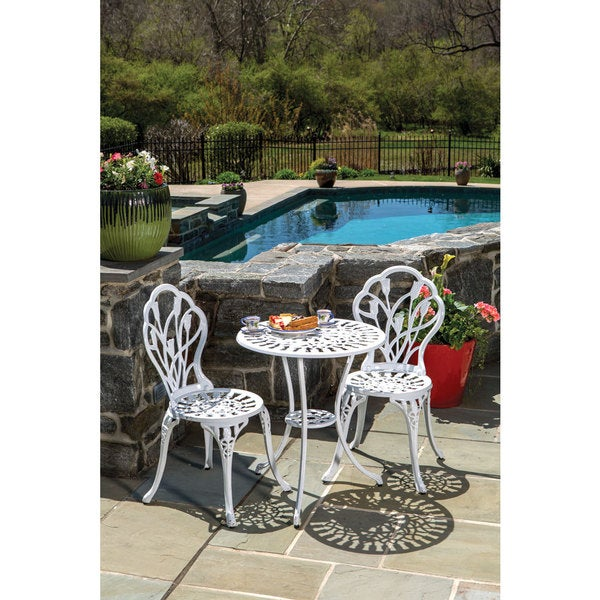 Shop Tulipano White Cast Aluminum Bistro Dining Set Set Of 3