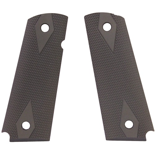 "Hogue 1911 Government/Commander 3/16"" Thin Grips Aluminum Checkered Matte Green Anodized"