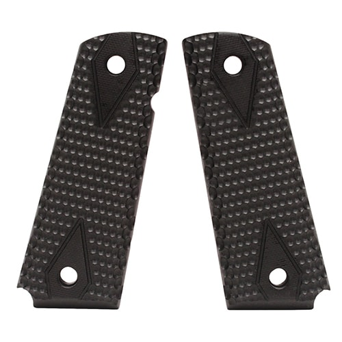 """Hogue 1911 Government/Commander 9/32"""" Thick Grips G-10 Pirahna Solid Black"""