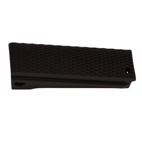 Hogue Colt, 1911 Government Mainspring Housing Aluminum Checkered Flat Brushed Gloss Black Anodized