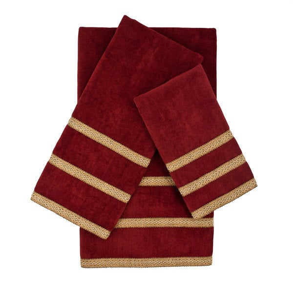 Sherry Kline Triple Row Gimp Red 3-piece Decorative Embellished Towel Set