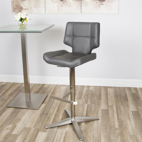 Brushed Stainless Steel X Base High Back Adjustable Height
