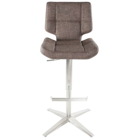 MIX Brushed Stainless Steel X Base High-Back Adjustable Height Swivel Bar Stool