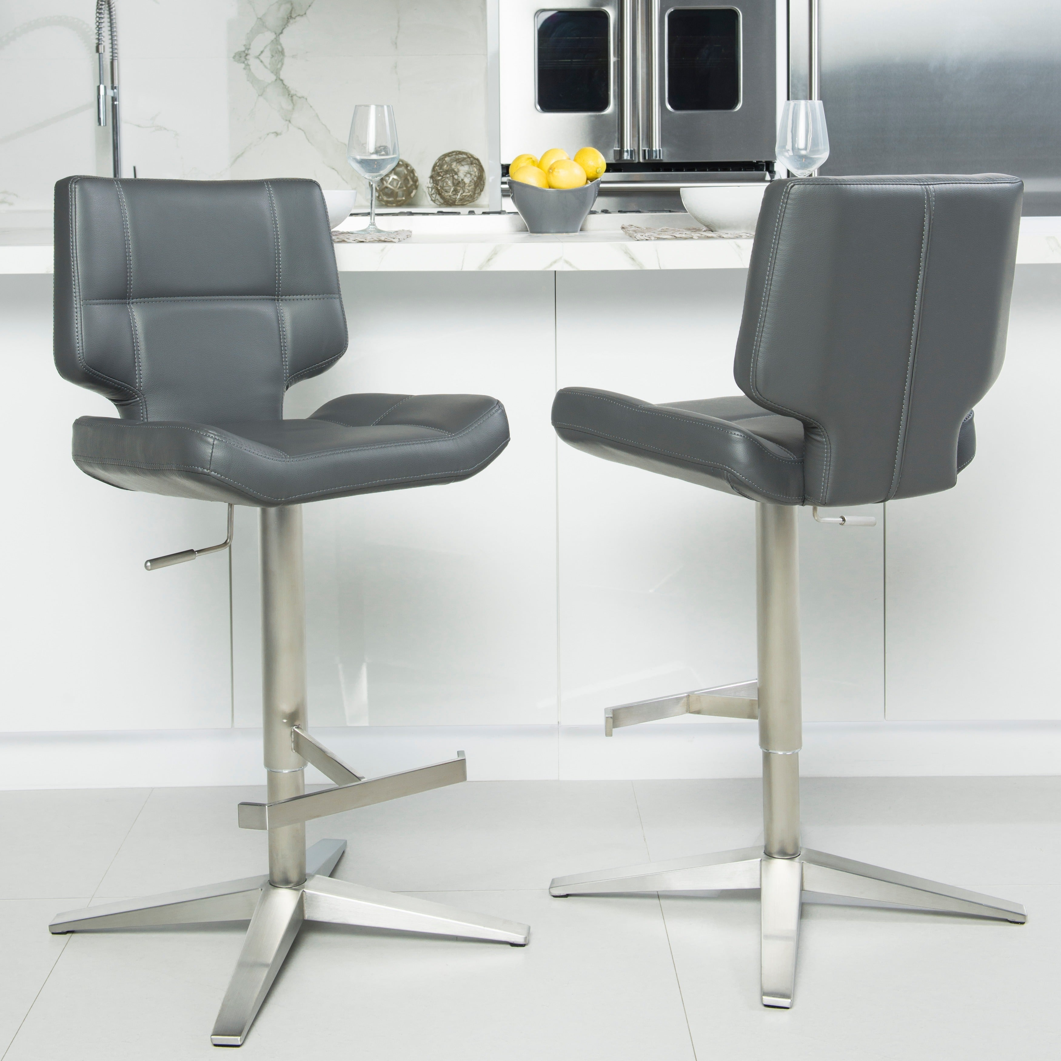 Shop Mix Brushed Stainless Steel X Base High Back Adjustable Height