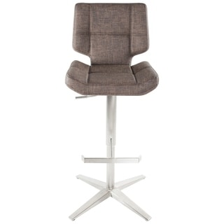 MIX Brushed Stainless Steel High-Back Adjustable Height Swivel Bar Stool With X Base