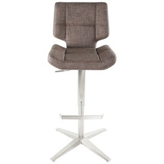 Brushed Stainless Steel X Base High Back Adjustable Height Swivel Bar Stool