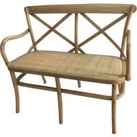 Sonoma Crossback X02 Dining Bench with Rattan Seat-Tinted Raw Color