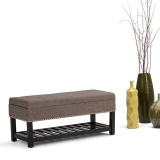 WyndenHall Nathan Linen-look Fabric Storage Ottoman Bench