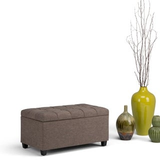 WyndenHall Marlowe Linen Look Fabric Storage Ottoman Bench