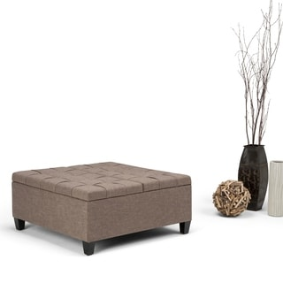 WyndenHall Elliot Linen Look Fabric Coffee Table Storage Ottoman