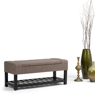 WyndenHall Caleb Linen Look Fabric Storage Ottoman Bench