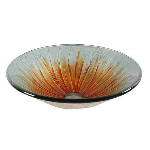 Dawn Handmade Orange Flower Tempered Glass Round Vessel Sink
