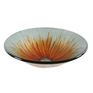 Dawn Handmade Orange Flower Tempered Glass Round Vessel Sink