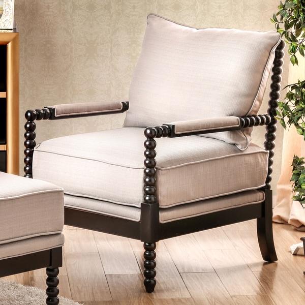 shop furniture of america cenner contemporary beige linen