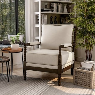 Furniture Of America Cenner Contemporary Beige Linen Espresso Accent Chair