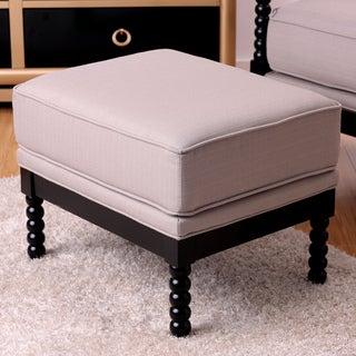Furniture of America Cenner Contemporary Beige Linen Fabric Espresso Ottoman