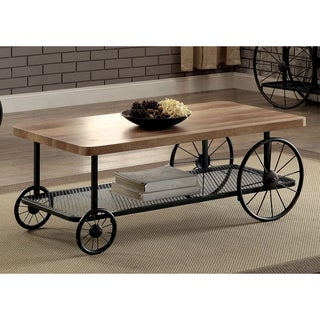 Furniture of America Galen Industrial Style Sand Black Wheeled Coffee Table