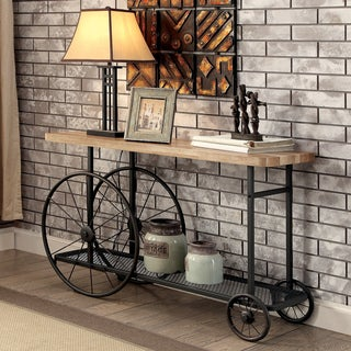 Furniture of America Galen Industrial Style Sand Black Wheeled Sofa Table