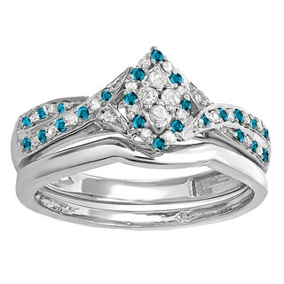 Elora Sterling Silver 1/3ct TDW Blue and White Diamond Marquise Bridal Ring Set (I-J, I2-I3)