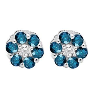 Elora 14k White Gold 1/5ct TDW Blue and White Diamond Cluster Flower Earrings (I-J, I2-I3)