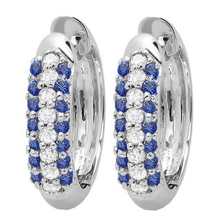 Elora 10k White Gold 1/3ct TGW Round Blue Sapphire and White Diamond Accent Hoop Earrings (I-J, I2-I3)