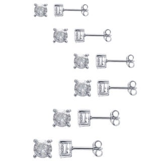 Divina Sterling Silver 1/2 to 1 1/2ct TDW Diamond Stud Earrings