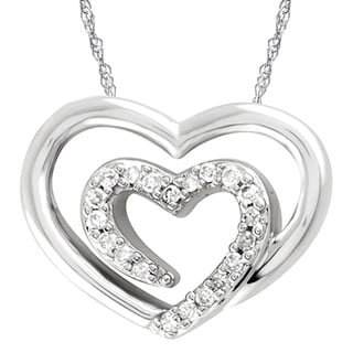 Diamond Accent Double Heart Pendant in Sterling Silver