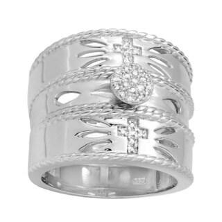 Elora Sterling Silver 1/5ct TDW Round Diamond Unisex Vintage Cross Bridal Set (I-J, I2-I3)