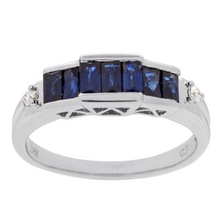 18-karat White Gold Blue Sapphire and Diamond Ring by Anika and August